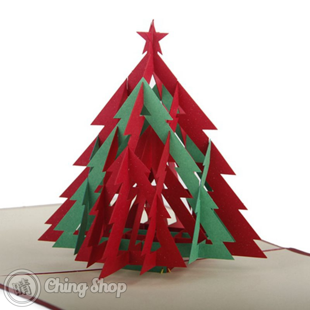 Red green christmas tree with star d pop up greetings