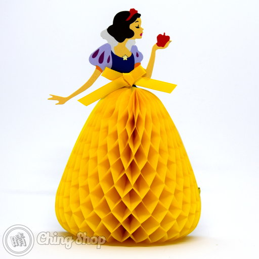 This beautiful card is sure to delight any Snow White fan with its 3D pop-up design showing the Snow White in a flowing yellow dress. The card stands on its own and has space for your own message.