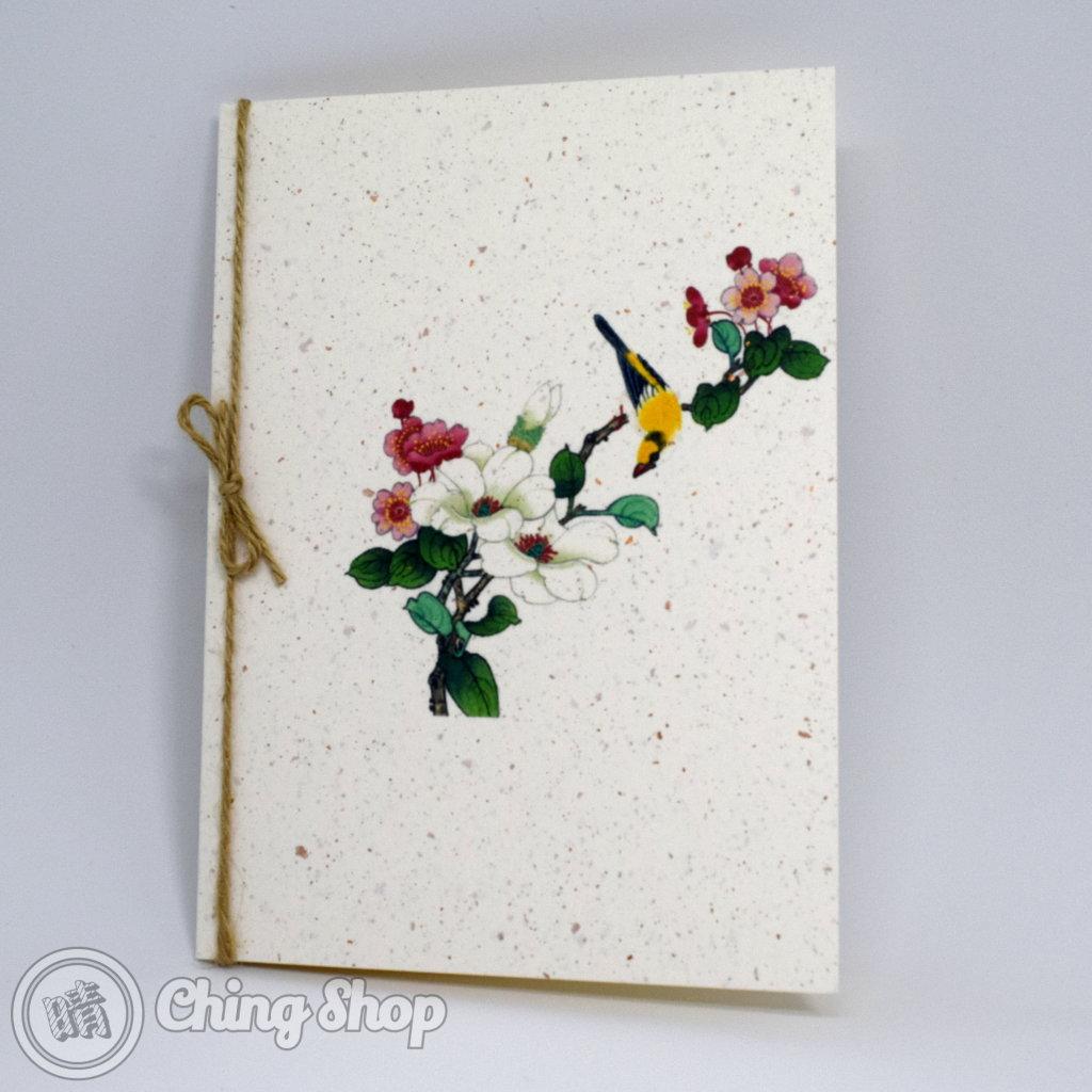White Flower & Yellow Bird Handmade Card with Chinese Painting Design #983