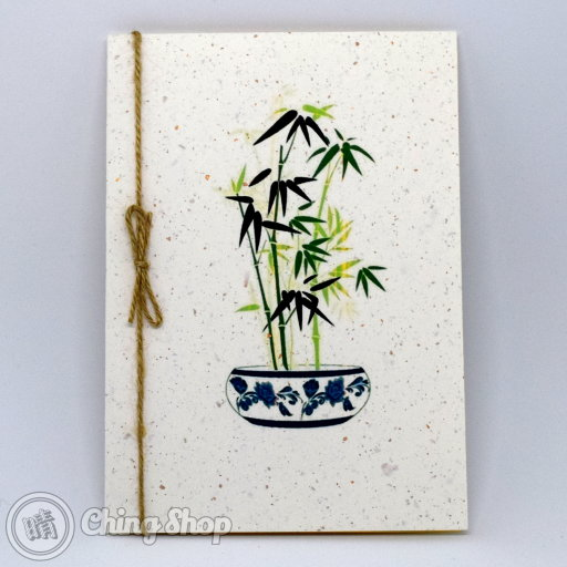 This beautiful greetings card has a stylish Chinese painting design showing bamboo in Chinese vase on grain-textured card. The card is decorated with a rustic string knot. The inside contains high-quality writing paper for your message.