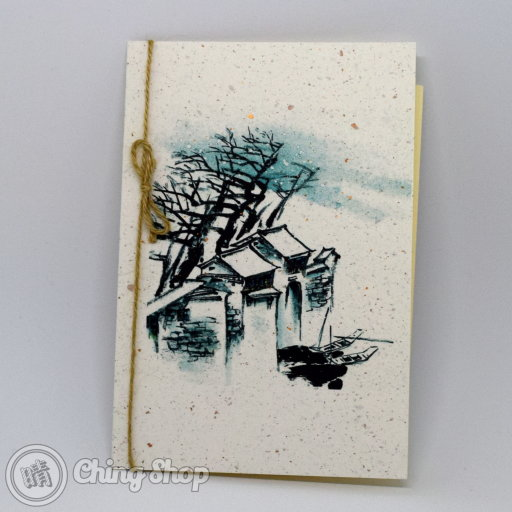 This beautiful greetings card has a stylish Chinese painting design showing some old houses and tree on grain-textured card. The card is decorated with a rustic string knot. The inside contains high-quality writing paper for your message.