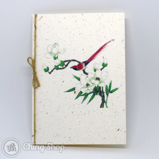 White Flower & Red Bird Handmade Card with Chinese Painting Design #1008