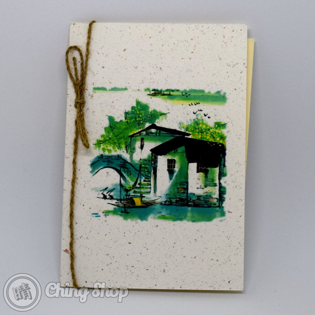 Old Houses and Bridge Handmade Card with Chinese Painting Design #1011