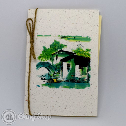 This beautiful greetings card has a stylish Chinese painting design showing an old bridge and some old buildings and on grain-textured card. The card is decorated with a rustic string knot. The inside contains high-quality writing paper for your message.