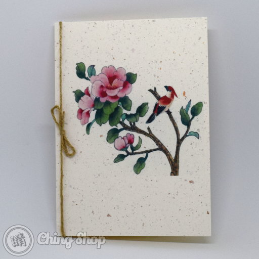 This beautiful greetings card has a stylish Chinese painting design showing a red bird and pink flower on grain-textured card. The card is decorated with a rustic string knot. The inside contains high-quality writing paper for your message.