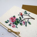 Pink Flower & Red Bird Handmade Card with Chinese Painting Design #1015