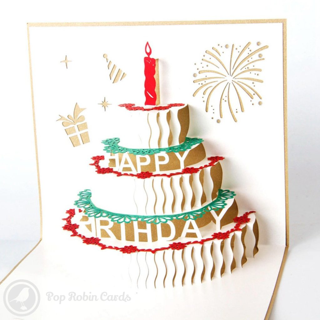 Birthday Cake with Candles 3D PopUp Birthday Greeting Card 475