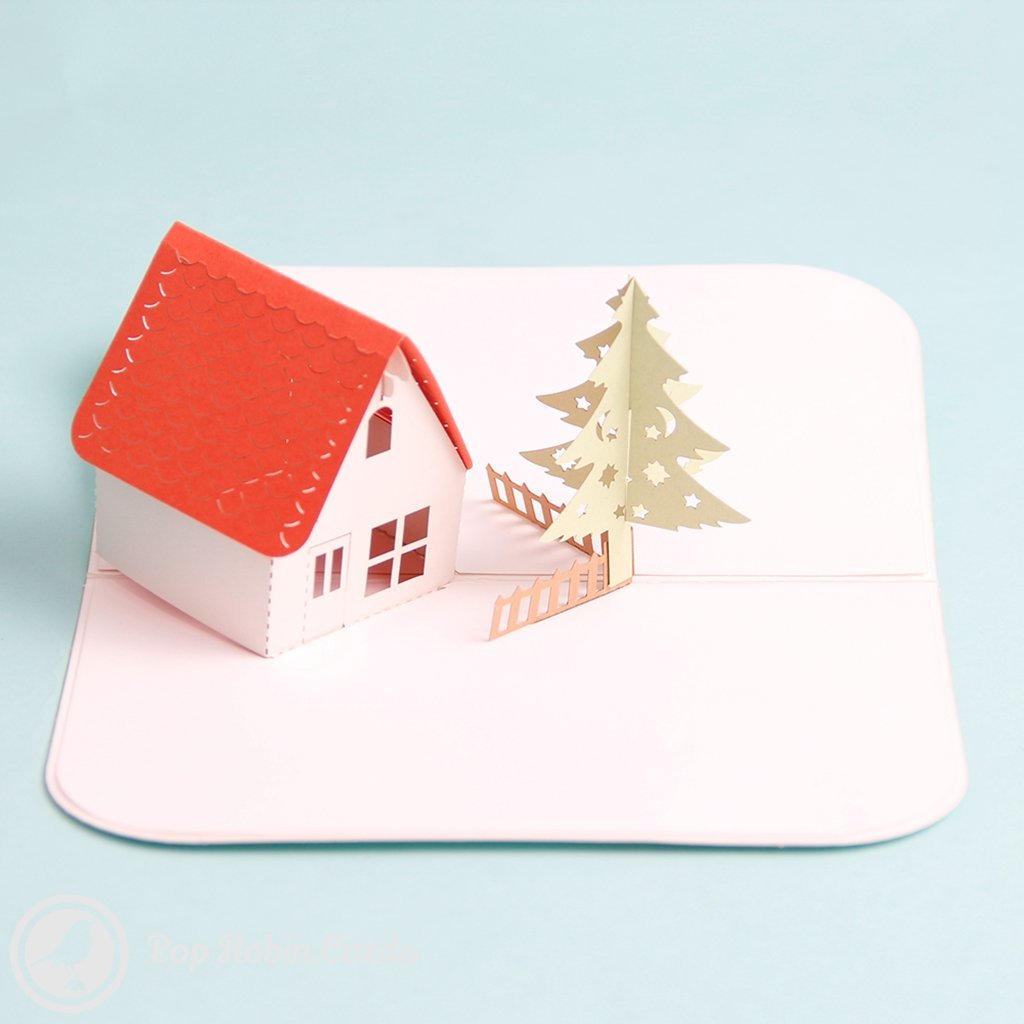 Water Colour Pine Tree & Snow Lodge Handmade 3D Pop-Up Card #1587