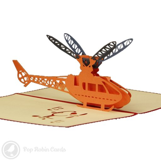 This exciting greetings card opens to reveal a bright orange helicopter in a 3D pop-up design. A cute cartoon helicopter stencil design also appears on the cover of the card.
