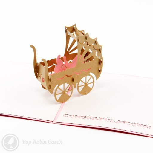 """Congratulations New Baby 3D Pop-Up Greetings Cards. The pink cover has """"baby girl"""" written on it, and the blue cover has """"baby boy"""" written on it."""