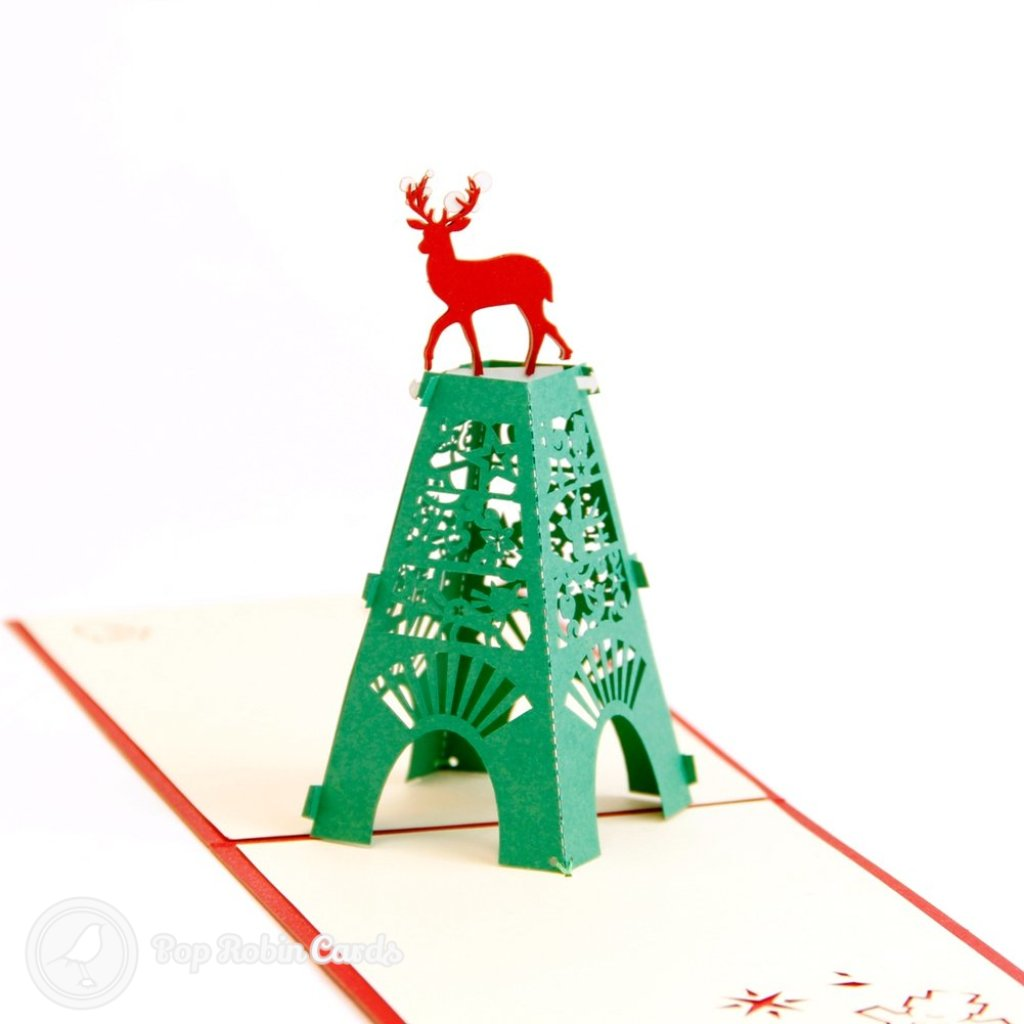 Tower & Deer Christmas Handmade 3D Pop-Up Card #1737