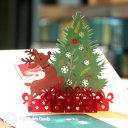 Colourful Rudolf & Christmas Tree Handmade 3D Pop-Up Christmas Card #1813