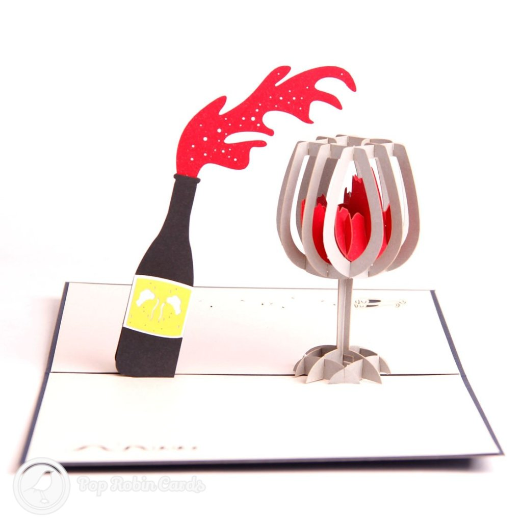 Red Wine Bottle Handmade 3D Pop Up Card #1892