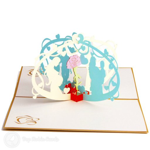 This congratulations card is extra-special with its amazing 3D pop-up design showing a couple and their baby in floral arches. The cover has a stencil design showing a mother and baby.