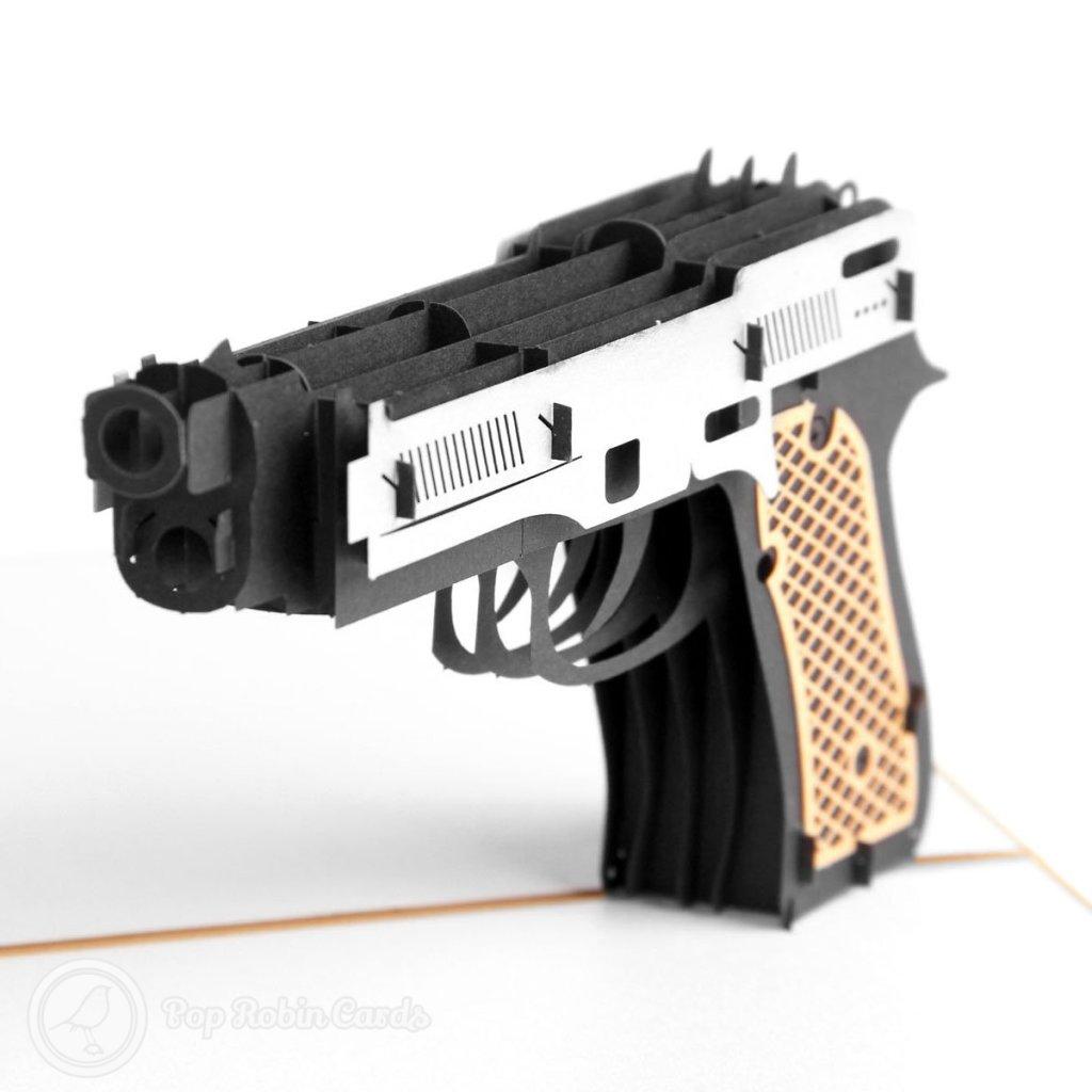 Pistol 3D Handmade Pop Up Card #2028