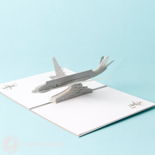 This card is perfect to give to a plane enthusiast with its 3D pop-up airplane design. It opens to reveal a silver jetliner, and has a stenciled plane on the cover. It also makes a great card for a regular traveler or someone setting off on their next journey.