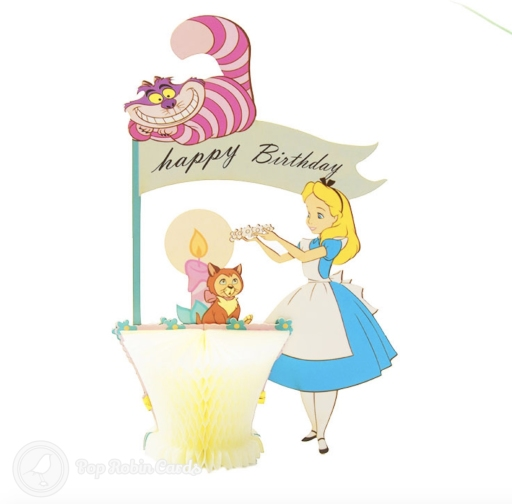 Alice in Wonderland with Cheshire Cat Birthday Card