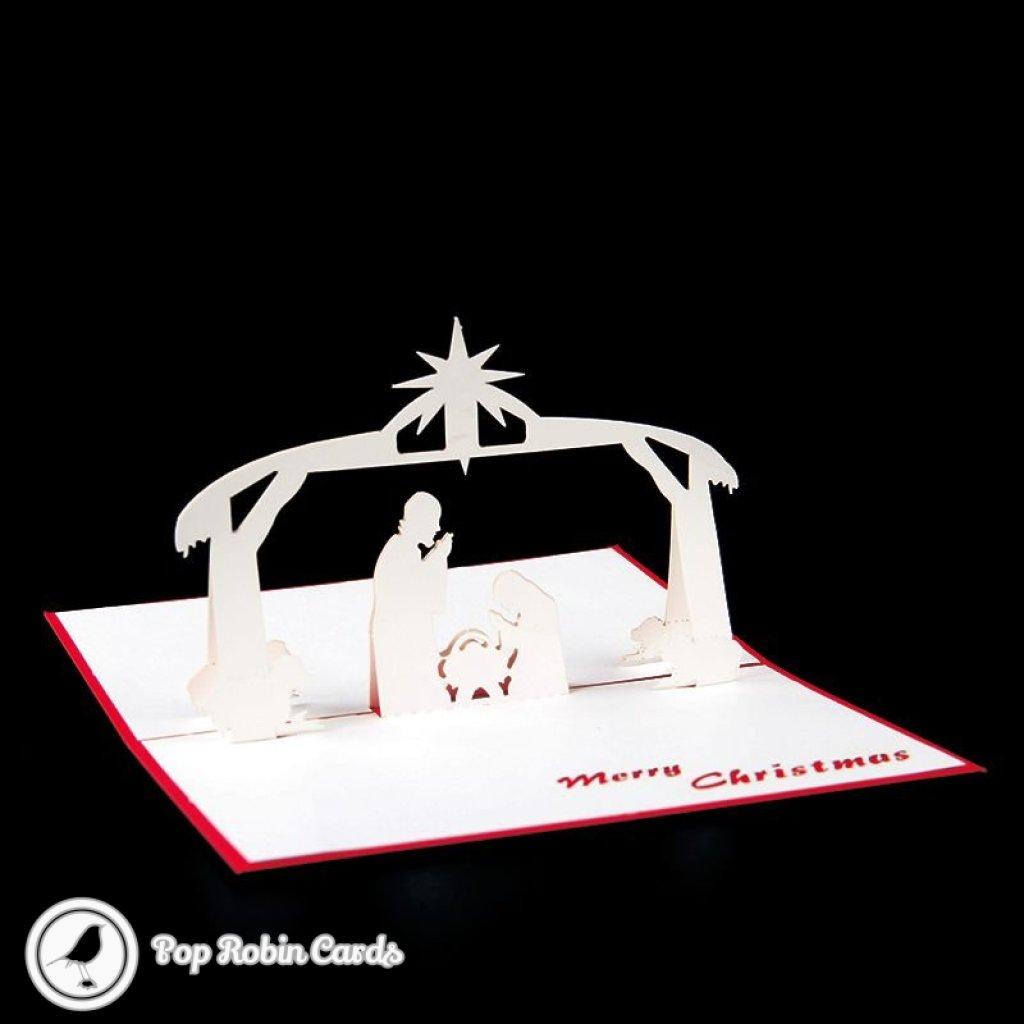 Baby Jesus Nativity Scene Handmade 3D Pop-Up Christmas Card #2340