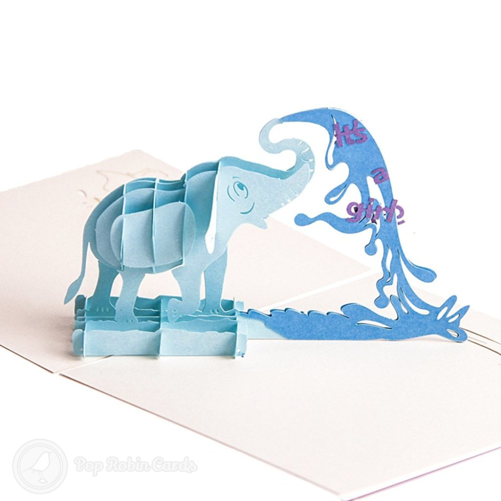 """It'S A Boy"" Baby Shower 3D Handmade Pop Up Card With Elephant Design #2622"