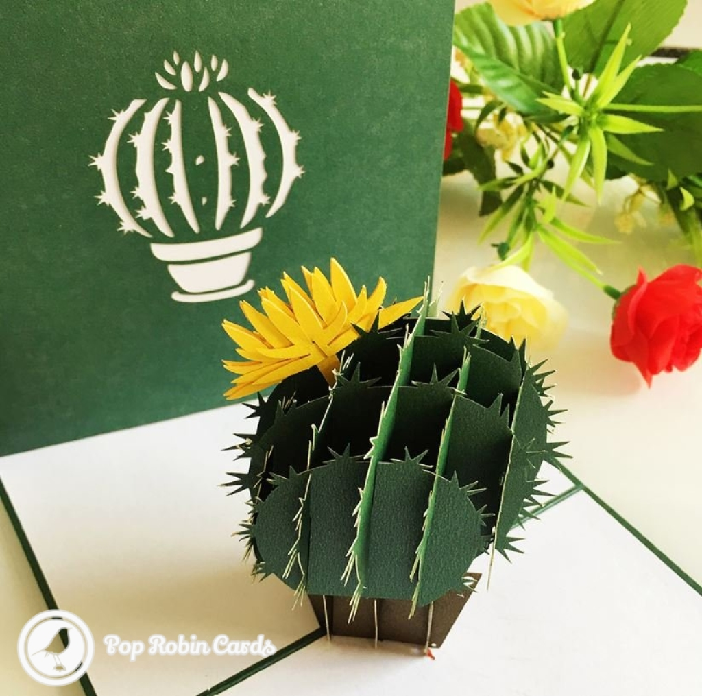 Barrel Cactus With Yellow Flower 3D Pop-Up Card #2817