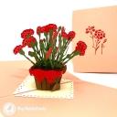 Basket Of Red Carnations 3D Handmade Pop Up Card #3803