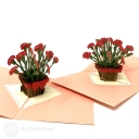 Basket Of Red Carnations 3D Handmade Pop Up Card #3804