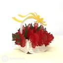 Basket Of Roses 3D Handmade Pop Up Card #3835