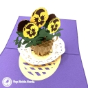 Basket Of Yellow Pansies 3D Pop Up Handmade Greetings Card #3812