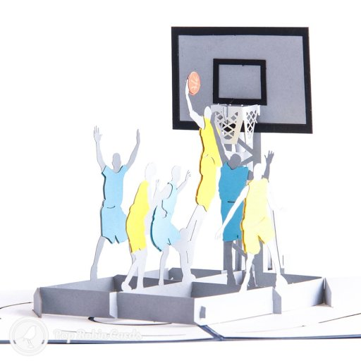 Amaze the basketball fan in your life with this 3D pop-up greetings card showing basketball players around a hoop, with a slam-dunk about to happen. This wonderful sport-themed card shows two teams of basketball players in vivid detail. The cover also has a stylised basketball slam-dunk stencil design.