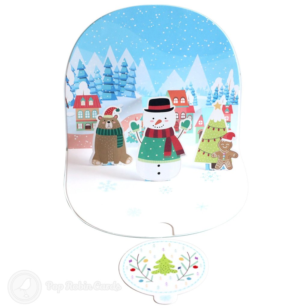 Snowman & Gingerbread Man 3D Pop-Up Christmas Card #2673
