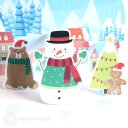 Snowman & Gingerbread Man 3D Pop-Up Christmas Card #2680