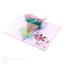 Beautiful Pink Daffodil Bouquet 3D Pop-Up Card #2790