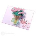 Beautiful Pink Daffodil Bouquet 3D Pop-Up Card #2791