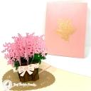 Beautiful Pink Gypsophila Flowers 3D Handmade Pop Up Card #3788