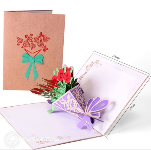 This card opens to reveal a beautiful 3D pop-up design showing a bouquet of bright red roses with a watercolour design. The rustic card cover has a stencil design also showing a bouquet of flowers with a green ribbon.