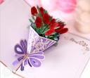 Beautiful Red Rose Bouquet Handmade 3D Pop-Up Card #2775