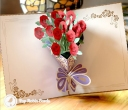 Beautiful Red Rose Bouquet Handmade 3D Pop-Up Card #2776