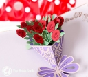 Beautiful Red Rose Bouquet Handmade 3D Pop-Up Card #2777