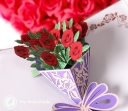 Beautiful Red Rose Bouquet Handmade 3D Pop-Up Card #2778