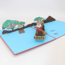 Fox And Bear Rowing On River Handmade 3D Pop Up Card #3094