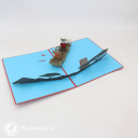 Fox And Bear Rowing On River Handmade 3D Pop Up Card #3097