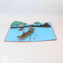 Fox And Bear Rowing On River Handmade 3D Pop Up Card #3098