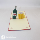 """I Love You"" Beer Bottle And Glass 3D Pop Up Card #3080"