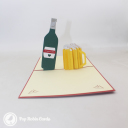 """I Love You"" Beer Bottle And Glass 3D Pop Up Card #3085"