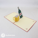 """I Love You"" Beer Bottle And Glass 3D Pop Up Card #3086"