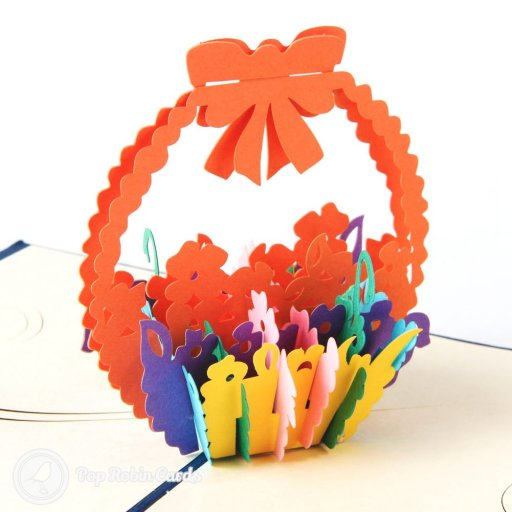 Best Wishes Flower Basket 3D Pop-Up Greetings Card 1842