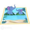 Big And Baby Elephant 3D Greetings Card #3366