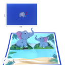 Big And Baby Elephant 3D Greetings Card #3367