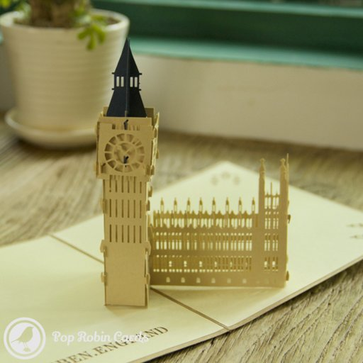 This wonderful architectural greetings card opens to reveal a 3D pop-up design showing London's famous Big Ben landmark. The intricate detail of the design is sure to impress any architecture enthusiast. The cover of the card also shows Big Ben in a stencil design.