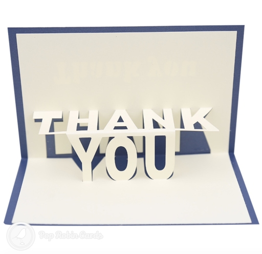 "This ""thank you"" card is perfect for expressing your gratitude with its 3D pop up design showing the words ""thank you"" in large letters. The cover has a stencil design also showing the words ""thank you""."